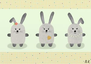 Cute animal postcards - bunnies
