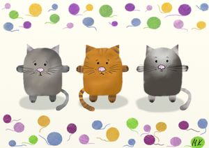 Cute animal postcards - cats