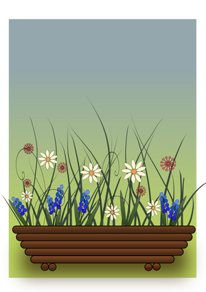 Flowers in a wooden planter